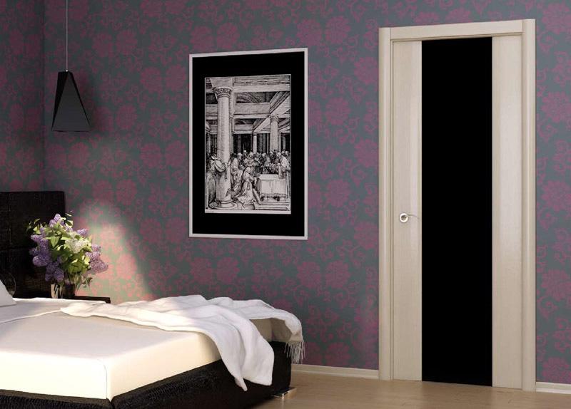Светлые двери с черным стеклом в интерьере фото